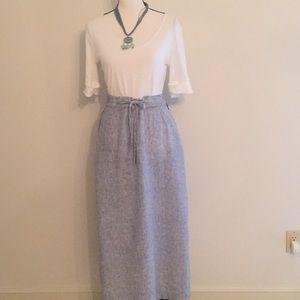 Tahari 100% Light Blue Linen Maxi Skirt w/ Button